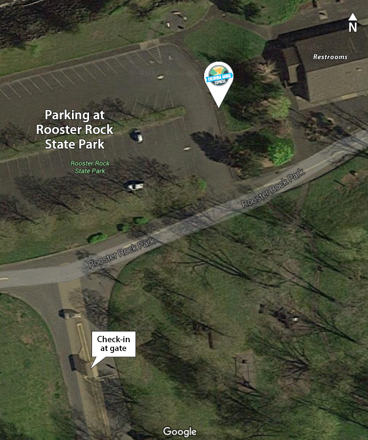 Aerial map of Rooster Rock State Park area