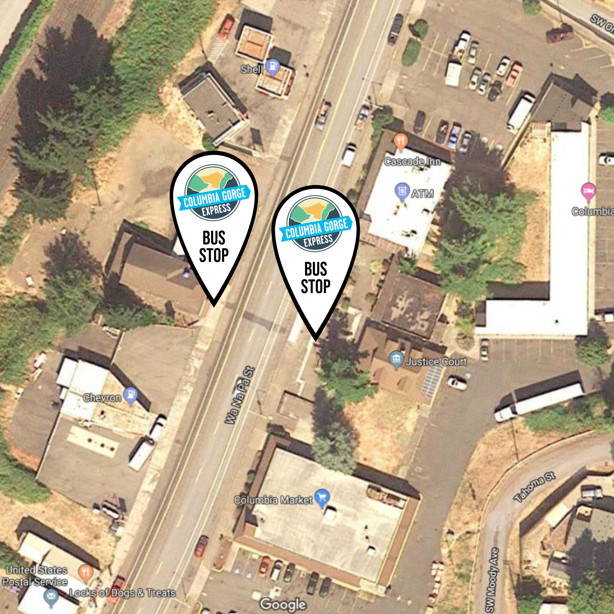 Columbia Gorge Express - Columbia Gorge Express Stops on las vegas monorail stops map, atm map, metropolitan map, multi-stop map, subway stop map,