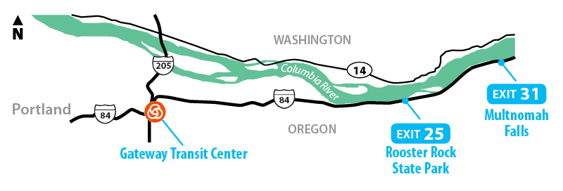 Columbia Gorge Express service area map