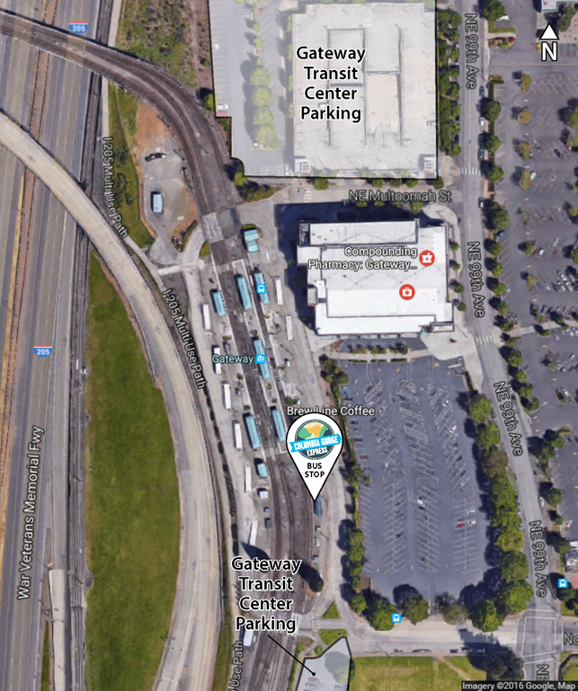 Aerial map of Gateway Transit Center area