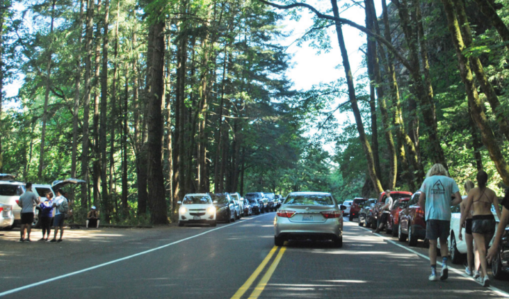 A busy scene full of people and cars parked on the shoulder of the Historic Columbia River Highway near Multnomah Falls.