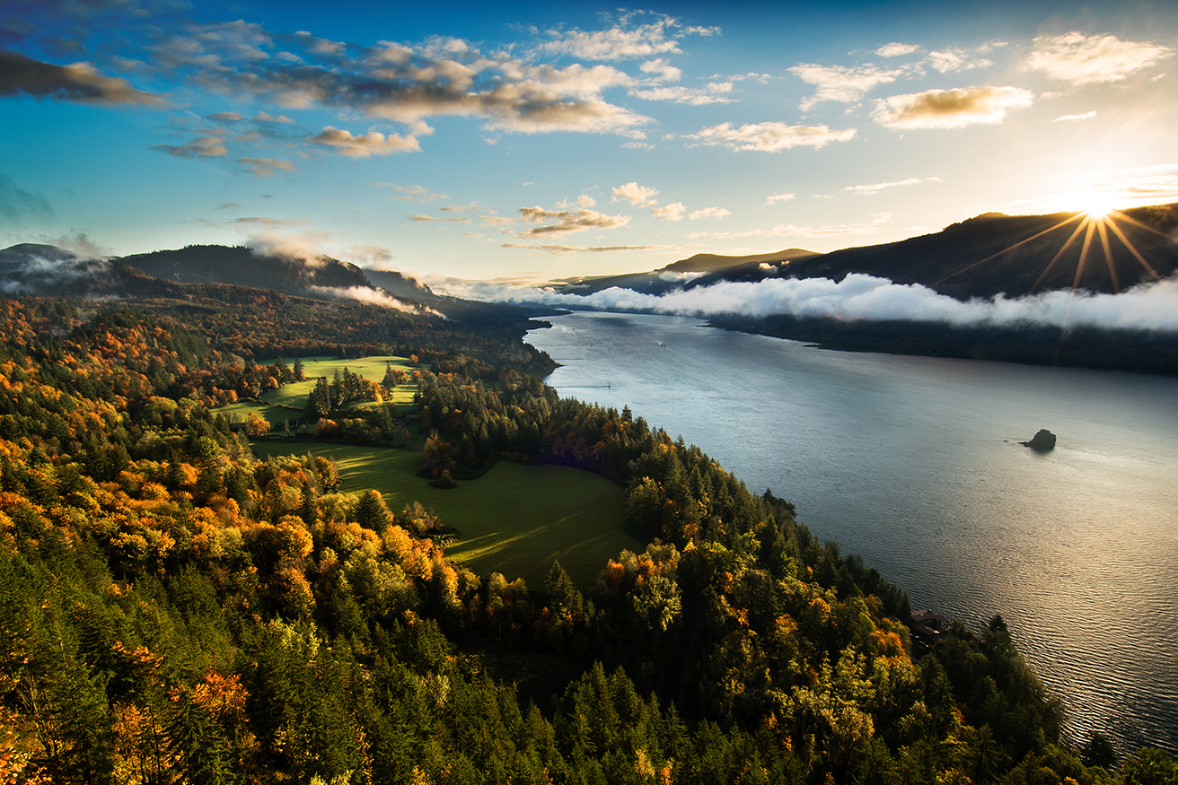 The Columbia Gorge as seen from Cape Horn during an autumn sunrise.